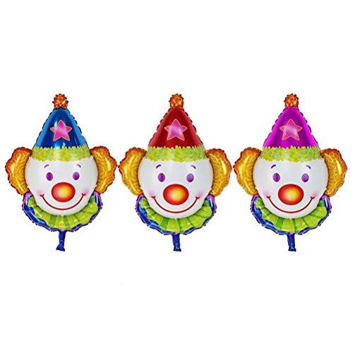 Toyvian 12 Stücke Clown Ballon Folie Helium Mylar Luftballons für Geburtstag Hochzeit Halloween Weihnachtsfeier Dekoration (Blau + Rot + Rose)
