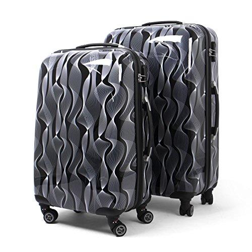 MasterGear Juego de Maletas de Viaje – Set de Maletas Apilables con 4 ruedas Giratorias 360 grados – Maleta Rígida ABS con Cremallera – Dos Tamaños M y L
