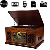 Retro Record, Retro Look Wooden Turntable 3 Speed Record Player Vinyl, CD To MP3 Converter with Stereo...