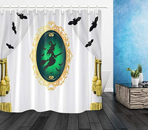 123456789 Hexenspiegel Halloween Fledermäuse Duschvorhang Wasserdichter Stoff Badezimmer