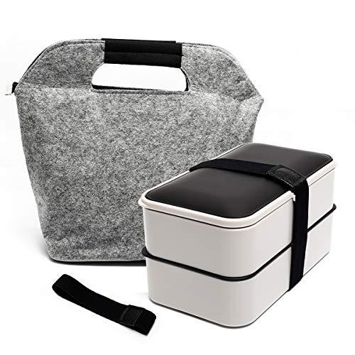 Fun Life Bento Box Lunchbox Brotdose Brotbüchse Zwei Fächern mit Tasche, 3-Teiligem robusten Besteckset & wasserdichter Bento-Gurt für Erwachsene & Kinder, Spülmaschinenfest Mikrowellenfest (Grau)