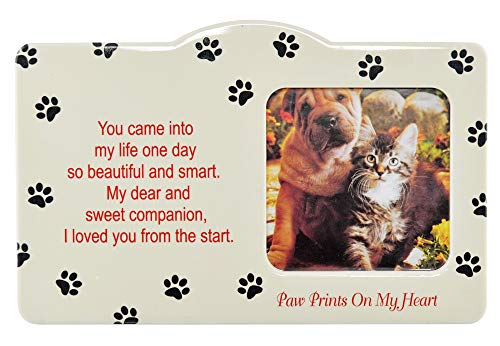 """Home-X Pet Memorial Frame-Sweet Companion Paw Prints On My Heart-Remembrance Picture Frame, Sympathy for Loss of Dog or Cat-Fits Standard 4x6"""" Photograph"""