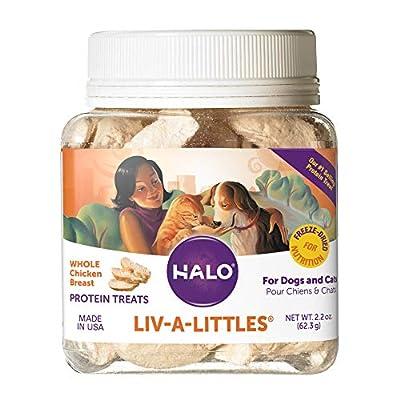 Halo Liv-A-Littles Grain Free Natural Dog Treats & Cat Treats, Freeze Dried Chicken Breast, 2.2-Ounce