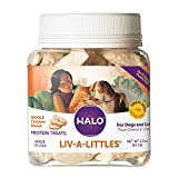 Halo Liv-A-Littles Grain Free Natural Dog and Cat Treats - 2.2 Oz Freeze Dried Chicken Breast - Real Whole Meat Pet Treats in Portable Jar - Sustainably Sourced, Low Calorie, and Great for Training