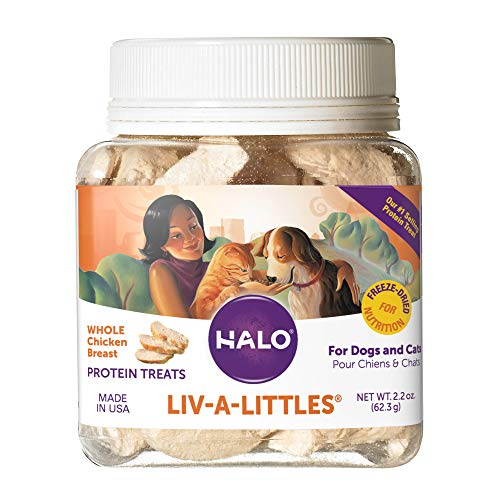 Halo Liv-A-Littles Grain Free Natural Cat Treats - Great for Training 2.2 Oz Freeze Dried Chicken Breast - Tasty Whole Meat Pet Treats in Portable Jar - Sustainably Sourced, Low Calorie
