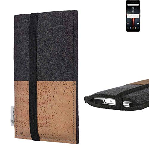 flat.design Vegan Phone Pouch SINTRA For Asus ROG Phone II - Case Cork Etui Fair Sleeve Bag Felt