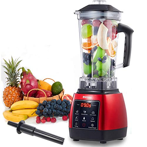 Blender Professional Countertop Blender, 2000W High Speed Smoothie Blender/Mixer for Shakes and Smoothies, commercial blender Crusing Ice, Frozen Desser with Timer, 68OZ BPA-Free Tritan Jar, Smoothie Maker Red BATEERUN
