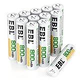EBL Pilas AAA Recargables Ni-MH de 1.2V, Precargadas & Baja Autodescarga con Cajas de Batería