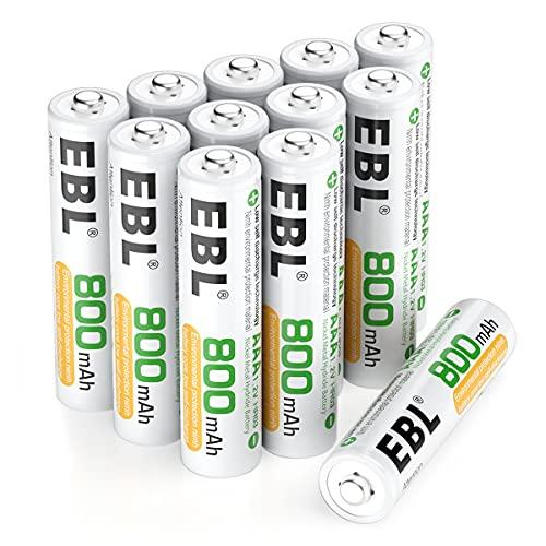 EBL Lot de 12 Piles AAA Rechargeables Ni-MH Haute Performance, Piles AAA/Lr03 Rechargeables de Longue Durée