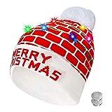 XIAMUSUMMER LED leuchten Hut Mütze Stricken | Weihnachtsmütze Nikolausmütze | Bunte LED Xmas Weihnachten Hut | Santa Winter Warme Strickmütze Beanie Cap, Kinder Erwachsener - Merry Xmas