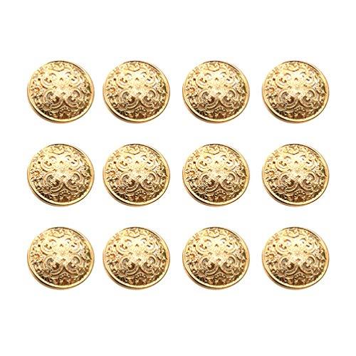 Heallily - Bottoni in metallo rotondi, piatti, in stile vintage, per giacche, bottoni da cucito fai da te, 18 mm, colore: oro chiaro, metallo, Oro chiaro, 2.5 * 2.5cm
