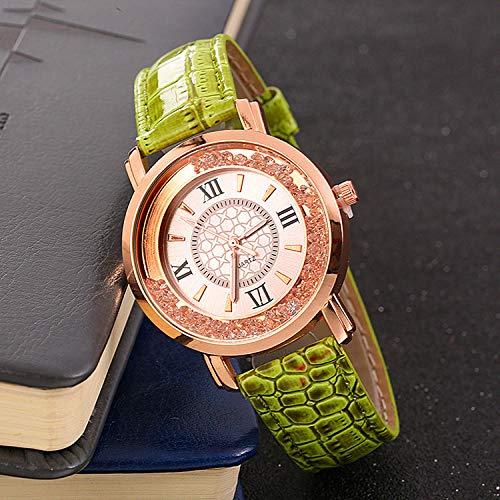 SANDA Relojes Hombre,Ball Quicksand Roman Noodle Reloj para Mujer Moda Casual Color Caramelo Reloj con cinturón Slub-Verde