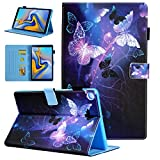 Samsung Galaxy Tab A 10.1 Case 2019 Model SM-T510/SM-T515, Alugs Multi-Angle Viewing Protective PU Leather Folio Cover for Galaxy Tab A 10.1 Inch 2019 Release Tablet, Purple Butterfly