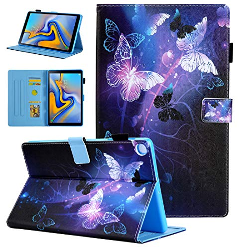 Samsung Galaxy Tab A 10.1 2019 Case Model Number SM-T510/SM-T515, Alugs Multi-Angle Viewing Protective PU Leather Folio Cover for Samsung Galaxy Tab A 10.1 Inch 2019 Release Tablet, Purple Butterfly
