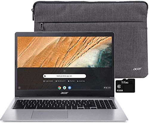 "2021 Acer Chromebook 315 Laptop Computer 15.6"" HD Display Intel Celeron N4000 Processor(Up to 2.6GHz) 4GB RAM 32GB eMMC Webcam BT USB Type C Chrome OS + TiTac Accessory"