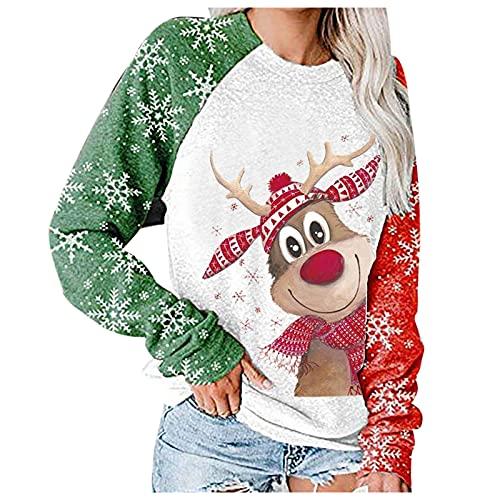 Boshivw Maglione natalizio per ragazze e bambine, con naso rosso e cervo, con stampa patchwork e scollo rotondo, bianco, M