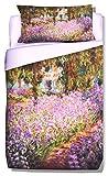 Deco Italia Set Copripiumino copriletto Monet Il Giardino dell'Artista 100% Cotone | Singolo 155 x 240 cm + Federa 50 x 80 cm