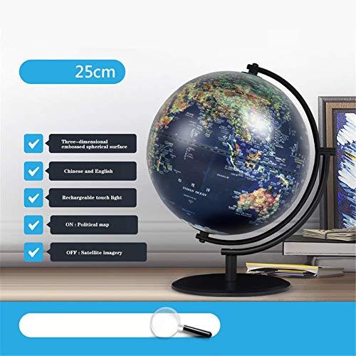 L.HPT Globen für Kinder , 10 Zoll beleuchten Weltkugel, 3D dreidimensionale Entlastung, die Noten-Nachtlicht-Universalbüro-Schlafzimmer-Ausgangsdekorations-Verzierungen auflädt