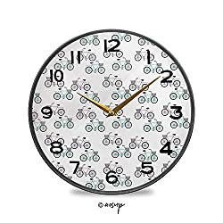 PUTIEN Round Wall Clock, Vintage Pattern of Simple Bike with Cage Vintage Wall Clocks Battery Operated Kitchen/Home/School Patio Decor 11.9