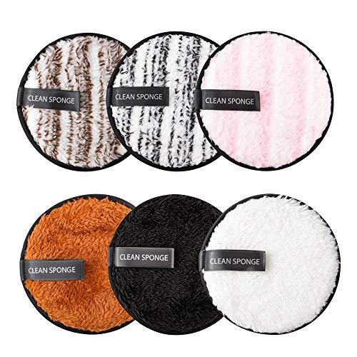 Qoosea 6 Pcs Coton Demaquillant Lavable, Kit Tampons Démaquillants Biologique, Éponge Lingettes Démaquillage Réutilisable, Makeup Pads Démaquillant Microfibre