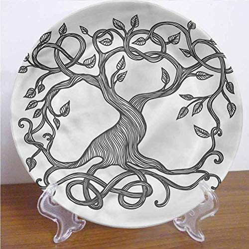 Channing Southey 8 Inch Celtic Ceramic Decorative Plate,Tree of Life Swirly Branches Round Porcelain Ceramic Plate Decor Accessory for Pasta, Salad,Party Kitchen Home Decor