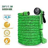HOBFU Flexischlauch, Flexibler Gartenschlauch 7.5M ausgedehnt, Wasserschlauch flexibel, Gartenteichschlauch dehnbar, Ausgedehnt Gartenteich Schlauch für Autowäsche, Gartenbewässerung, Yard, grün