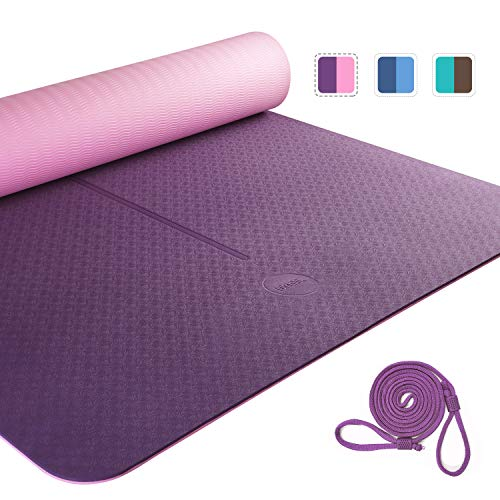 UMI. by Amazon -Yoga Mat Colchoneta Yoga Antideslizante Eco TPE Extra Suave con Double Capas (Lila + Rosa, 1830×800×6mm)