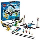 LEGO City Airport Sfida Aerea, 2 Elicotteri Giocattolo Volanti e Aereo Acrobatico, Set di Costruzioni per Bambini 5+ Anni, 60260