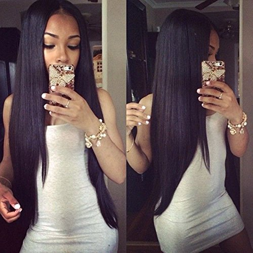 Transparent 13x4 Lace Front Wigs Human Hair Brazilian Remy Virgin Hair Straight Hair Lace Wigs with Baby Hair for Black Women 18inch 130% Density Natural Color