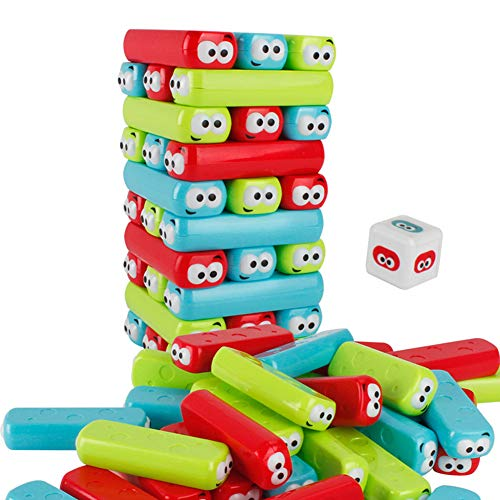 Glomixs Cut Cartoon Toppling Tower Classic Outdoor Games Tumbling Stacking Toy, Multi-Function Learning, Active, Early Developmental Toy,Fun Gift for Age 4-8 Years Kids for Adult Family