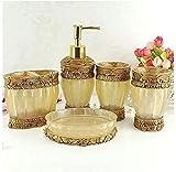 Sanlucky Accesorios de baño de 5 Piezas, Set de Accesorios de baño, Funciones de Set de baño, dispensador de jabón, portacepillos, Taza y jabonera - Golden Glossy - Set de Regalo de baño