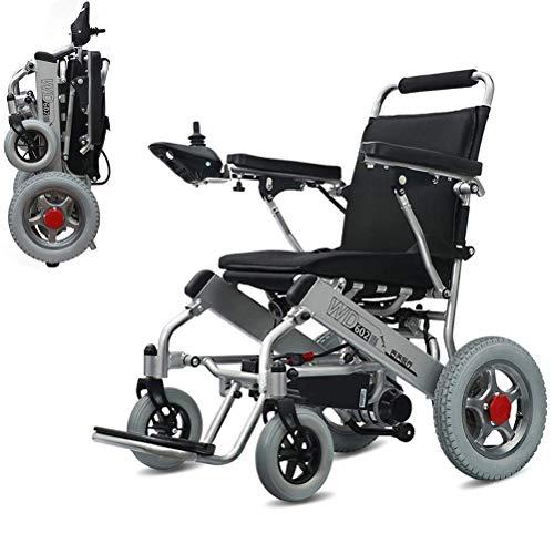 MJY Silla de ruedas eléctrica Plegable Ligero Pequeño Silla de ruedas portátil inteligente Viaje Ultra ligero Automático Silla de ruedas eléctrica vieja, Batería de iones de litio d