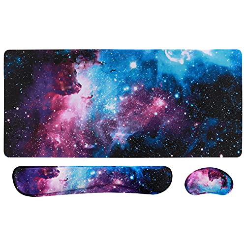 Artiron Mouse Pad Set, Memory Foam Ergonomic Keyboard Mouse Wrist Rest, Extended Desk Pad with Stitched Edges (35.4 x 15.7 in), Non-Slip Waterproof Mouse Pad for Home Office Study Game (Starry Sky)