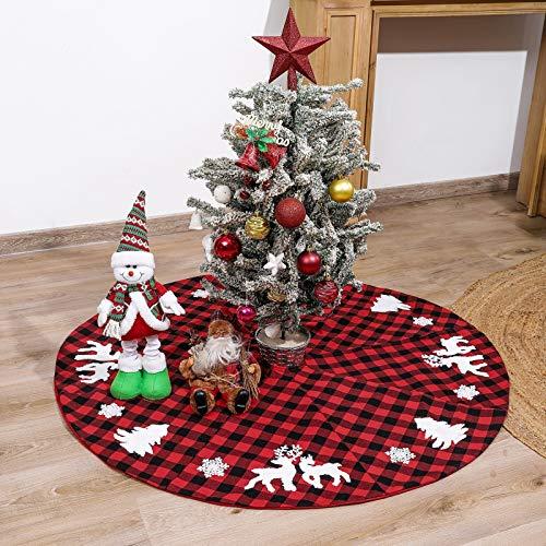 Becoler Buffalo Plaid Christmas Tree Skirt,48' Red and Black Check&Burlap Reversible Farmhouse Tree Mat