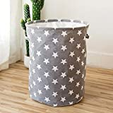FEIYI Cesta de lavandería plegable de 35 x 45 cm, con patrón de estrella, grande, impermeable, tela de lino para el hogar, organizador de almacenamiento de ropa (color: gris)