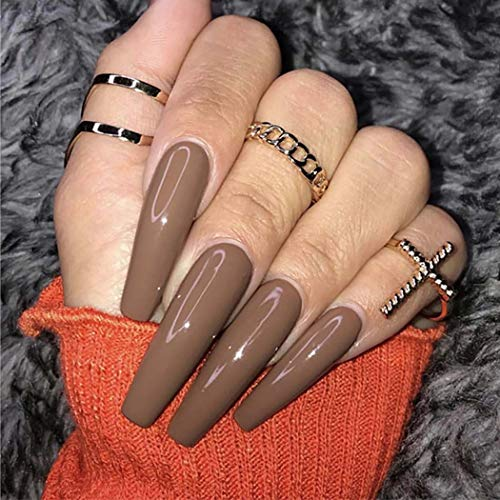 Harosy Extra Long Fake Nails Coffin Acrylic Press on Nails Glossy Full Cover False Nail for Women and Girls 24Pcs (Brown)