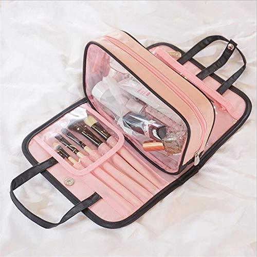 Trousse De Voyage Imperméable Cation femmes cosmétiques Sac multifonction Organisateur Maquillage Portable Sac Voyage nécessité Beauty Case Wash Pouch (Color : Brown)
