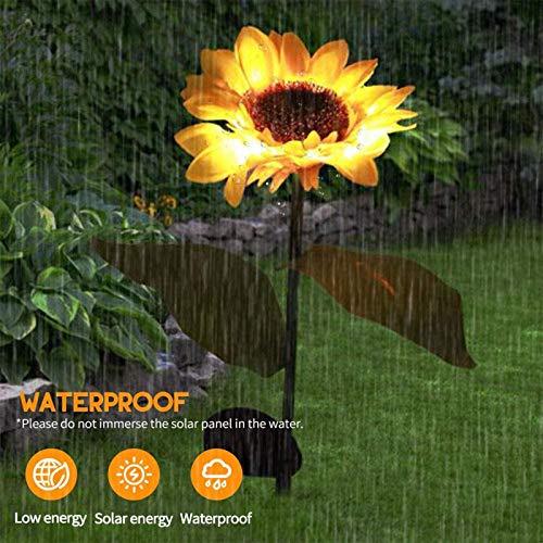 QWV Sunflower Solar Stick Lamp Outdoor Garden Stake LED Solar Landscape Decorative Lighting Lamp for Garden Patio Yard Lawn Pathway Lighting