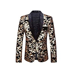 Green Lapel Blazer Design Velvet Gold Flowers Sequins