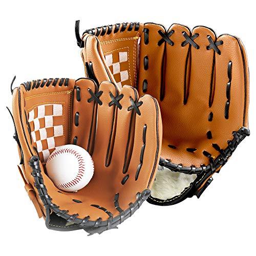 Smilerain 野球グローブ 野球 グラブ グローブ 野球 こども用 柔らかな人工皮革製 さまでも扱いが容易 小学校低学年 大人 トレーニング用 レジャー フアミリースポーツ 野球 親子グローブ 練習ボール セット キャッチボール 親子セット