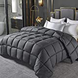 Oubonun All Season Dark Gray Queen Size Comforter-Down Alternative Quilted Duvet Insert with Corner Tabs-300GSM Hypoallergenic Fluffy Bedding Comforter