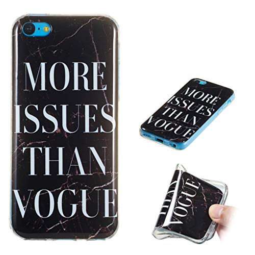 Yunbaozi Funda Mármol iPhone 5C Carcasa Suave Silicona Marble Case IMD Piedra Anti-Rasguños Anti-Huella Digital Patrón Geometric Granito, Texto de Mármol Negro