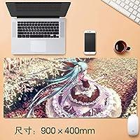 拡張大TtのEsportsも初音ミク版ゲーミングマウスパッド日本のかわいい漫画のアニメのノートパソコンのマウスマットで縫製EDGE基地ノンスリップラバーマウスパッドのために、コンピュータやパソコン90 * 40センチメートル (サイズ : Thickness: 5mm)