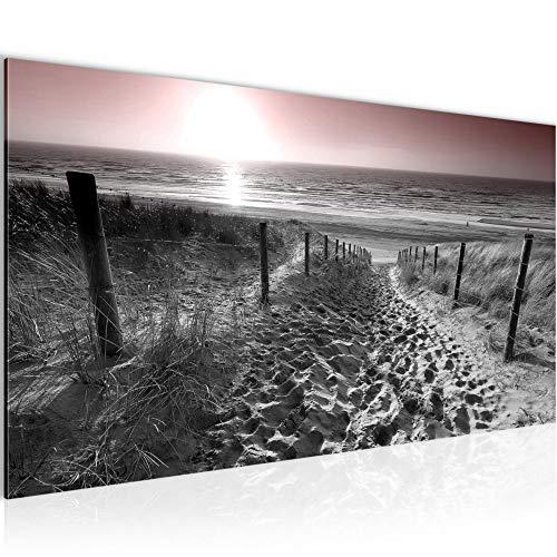 Bilder Strand Sonnenuntergang Wandbild 100 x 40 cm Vlies - Leinwand Bild XXL Format Wandbilder Wohnzimmer Wohnung Deko Kunstdrucke Rosa Grau 1 Teilig - MADE IN GERMANY - Fertig zum Aufhängen 018412b