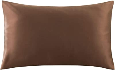 """Artyunt 100% Pure Mulberry Silk Pillowcase for Hair and Skin, 19 Momme Both Sides, Hidden Zipper, Natural Hypoallergenic Silk Pillow Case (Light Coffee, Large 20""""x 30"""")"""