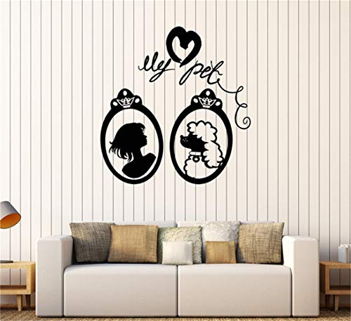 stickers muraux Fille fille portrait de femme mon animal de compagnie