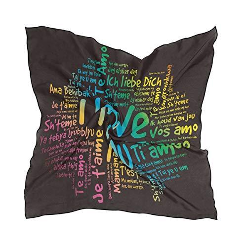 ALARGE - Bufanda cuadrada de seda con texto 'I Love You', protector solar, ligera, suave, bufandas, bufandas envolvente, chal para mujeres y niñas