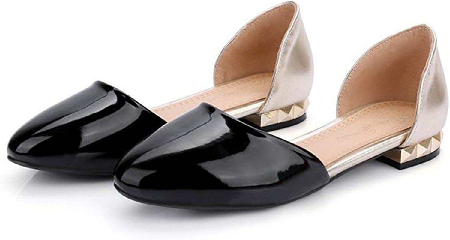 Unm Women's Simple Patent Leather Round Toe Slip On Dress D'Orsay Flats shoes