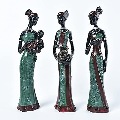 JJZXD 3 PCS/Set Figura Africana Sculptura de Las Mujeres, 7.5'Dama Tribal Estatua Estatua Decoración, Artesanía de Resina Regalo Adornos de Escritorio Decoración del hogar (Color : B)