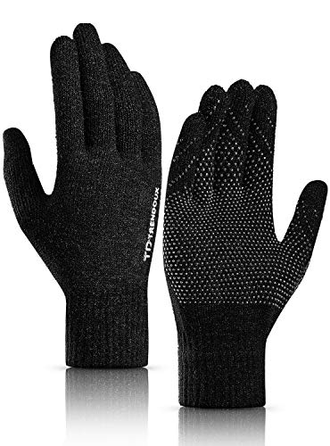 Touch Screen Gloves, TRENDOUX Unisex Knit Winter 360° Whole Palm Touchscreen Glove Men Women Texting Smartphone - Antislip - Elastic Cuff - Thermal Wool Lining - Hands Warm in Cold Weather - Black - L
